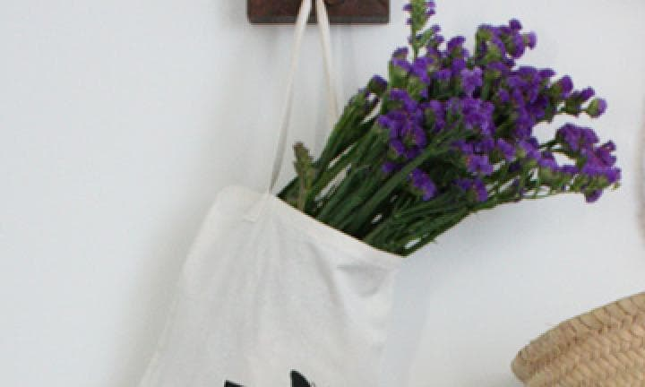 Stencilled tote bags