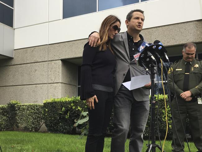 Gideon and Jeanne Bernstein appeal for information about the whereabouts of their missing son Blaze. The 19-year-old's body was later murdered. Picture: AP Photo/Amy Taxin