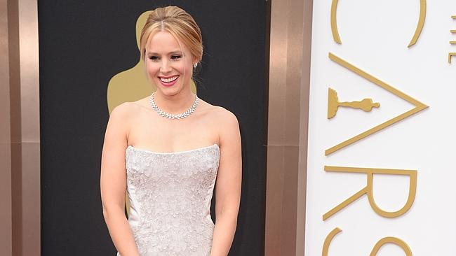 Kristen Bell arrives at the Oscars in Los Angeles.