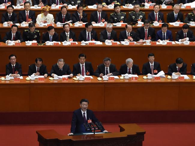 China's President Xi Jinping gives his speech at the opening session of the Chinese Communist Party's national congress at the Great Hall of the People in Beijing. Picture: Wang Zhao/AFP