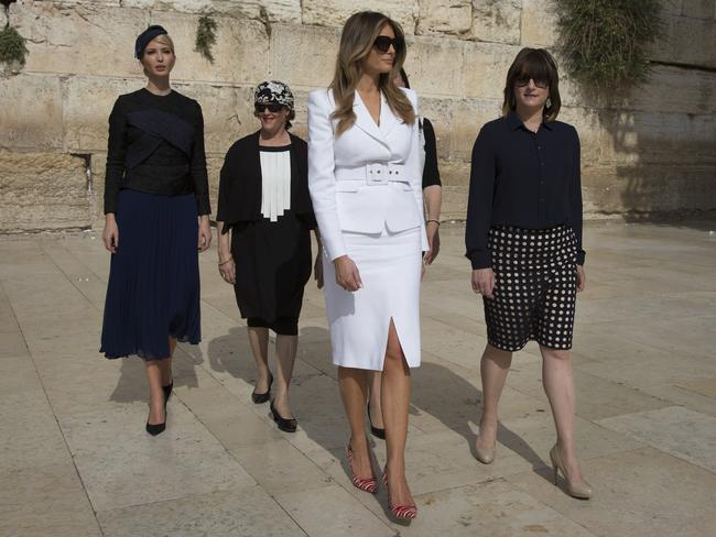 With her daughter-in-law Ivanka visiting the Western Wall in Jerusalem's Old City. Picture: Heidi Levine, pool via AP