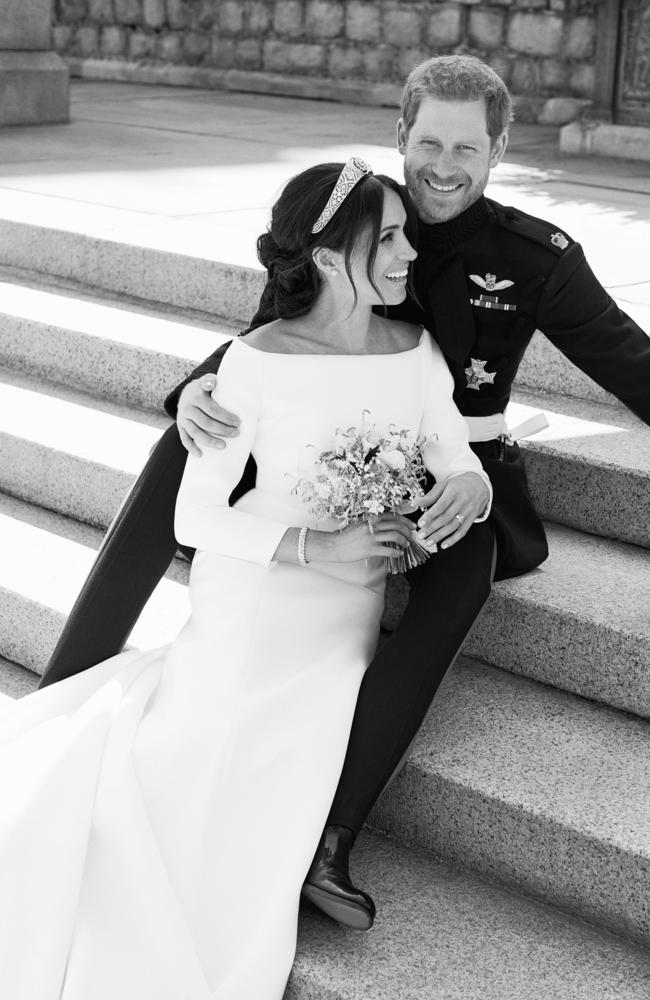 This photo released by Kensington Palace on Monday May 21, 2018, shows an official wedding photo of Britain's Prince Harry and Meghan Markle, on the East Terrace of Windsor Castle, Windsor, England. Picture: Alexi Lubomirski/Kensington Palace via AP