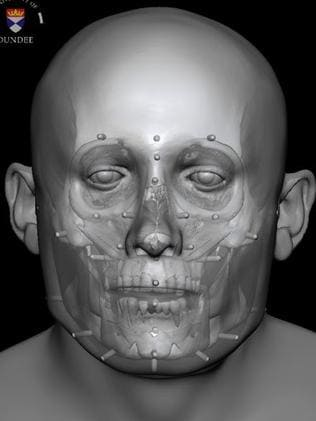 Facial reconstruction of Context 958. Picture: Dr. Chris Rynn, University of Dundee