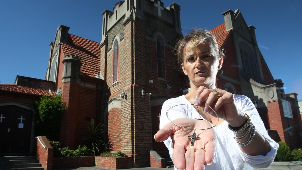 Georgina Sarikoudis with her crucifix outside St Raphael Greek Orthodox Church in Bentleigh. Picture: Yuri Kouzmin