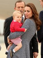 <p>Catherine, Duchess of Cambridge holds Prince George of Cambridge as they leave Fairbairne Airbase to head back to the UK after finishing their Royal Visit to Australia on April 25 2014 in Canberra, Australia. The Duke and Duchess of Cambridge are on a three-week tour of Australia and New Zealand, the first official trip overseas with their son, Prince George of Cambridge. Picture: Getty</p>