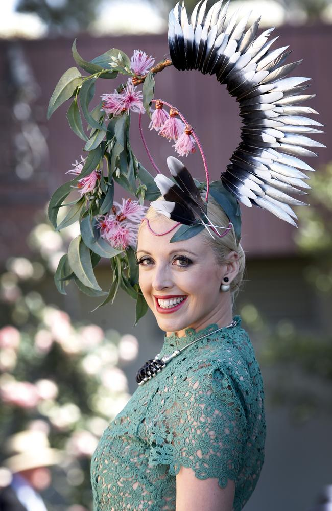 2015 Melbourne Cup Day at Flemington Racecourse. Myer Fashion in the Field. Leeanne Symes wearing a Pegi Lea design hat. Picture: David Caird.