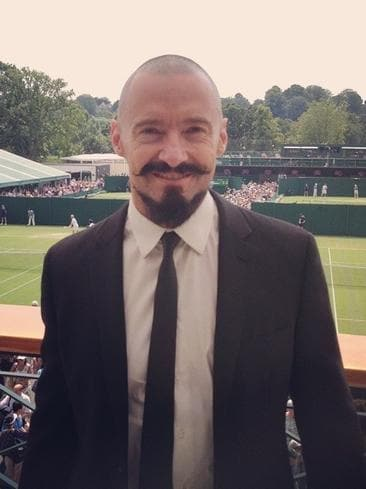 "Aussie actor Hugh Jackman looking rather formal at the tennis, ""At @Wimbledon. Bucket list - check!!!."" Picture: Instagram"