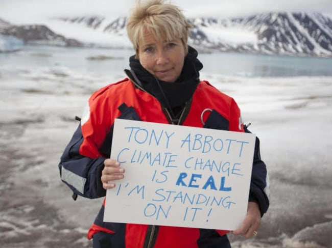 British actor Emma Thompson and her message to Prime Minister Tony Abbott