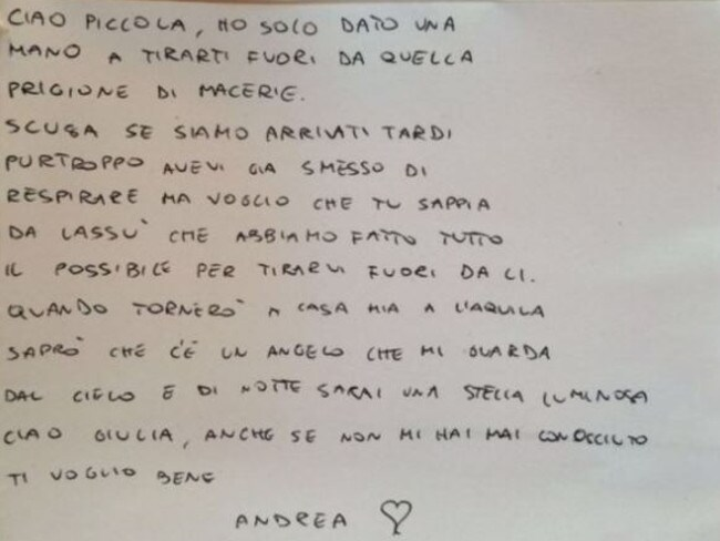 Firefighter writes moving letter to child killed in Italy earthquake. The note, which had been left on her small white coffin, was signed only from 'Andrea'.