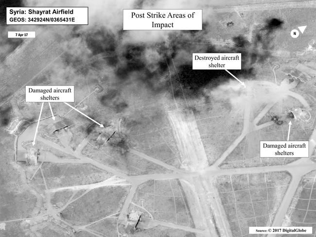 The US bombed Shayrat air base in Syria in response to a chemical weapons attack last year. Picture: US Dept of Defense/AP