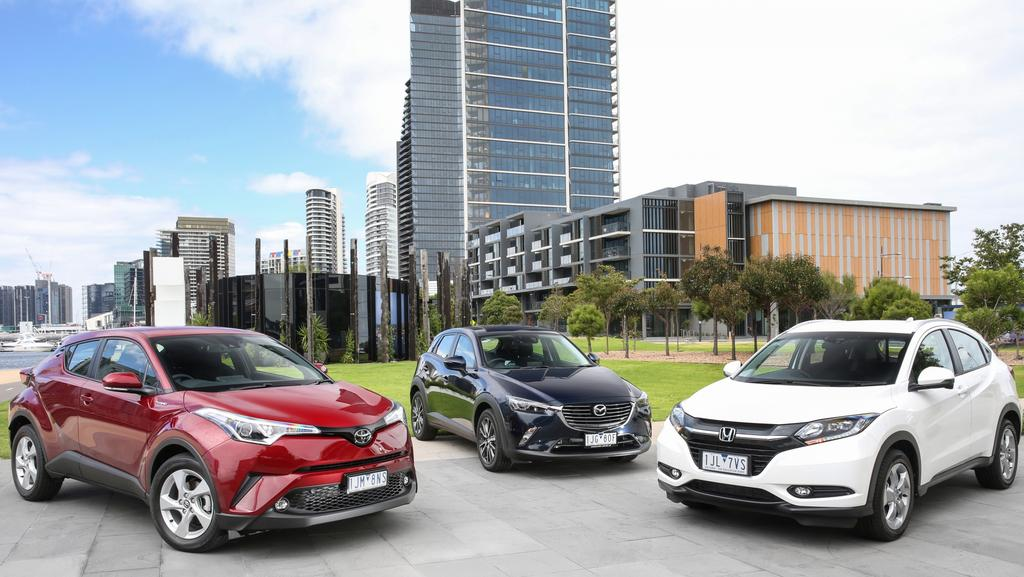 mini suv comparison toyota c hr v mazda cx 3 v honda hr v herald sun. Black Bedroom Furniture Sets. Home Design Ideas