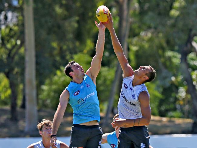 Todd Goldstein and Braydon Preuss are working on their on-field chemistry. Picture: Tim Carrafa