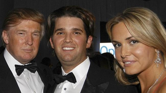 Donald Trump with his son Don Jr. and wife Vanessa.