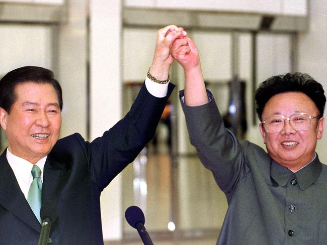 Kim Jong-il, pictured meeting South Korean President Kim Dae-jung in Pyongyang in 2000. Picture: AFP/Yonhap