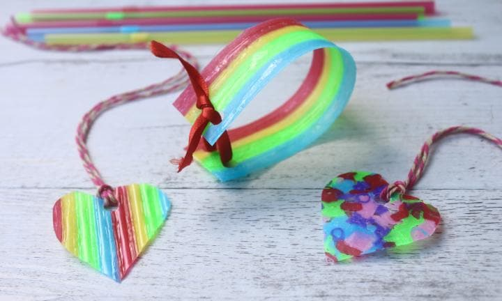 Melted plastic straw jewellery craft