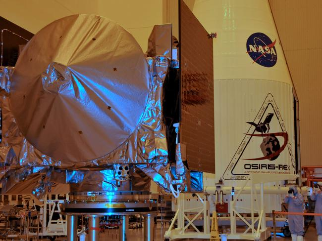 The OSIRIS-REx spacecraft sits on its workstand August 20, 2016. Picture: Bruce Weaver