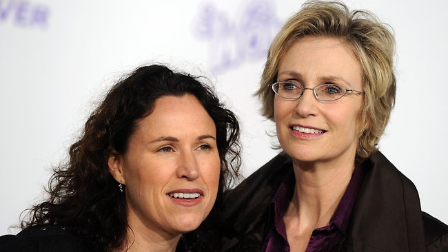 """""""Glee"""" actor Jane Lynch and ex-wife Lara Embry are trying to remain friends after ending their three-year marriage. Picture: AFP"""
