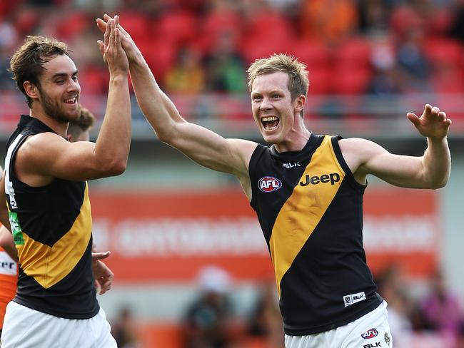 Richmond's Jack Riewoldt celebrates one of his eleven goals against GWS in Round 10. pic. Phil Hillyard
