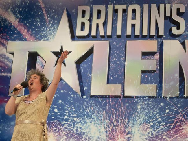 True star ... Scottish charity worker Susan Boyle appearing on Britain's Got Talent (BGT) television show during auditions in Glasgow. Picture: AFP