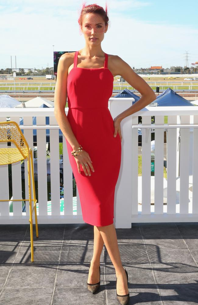 Rachael Finch attends the Emirates Marquee on Melbourne Cup Day at Flemington Racecourse. Photo by Scott Barbour