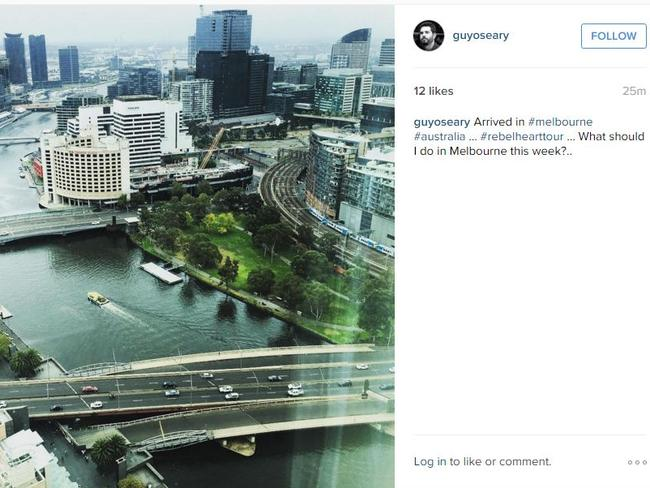 Madonna's manager Guy Oseary has asked for tourist advice in Melbourne. Picture: Instagram