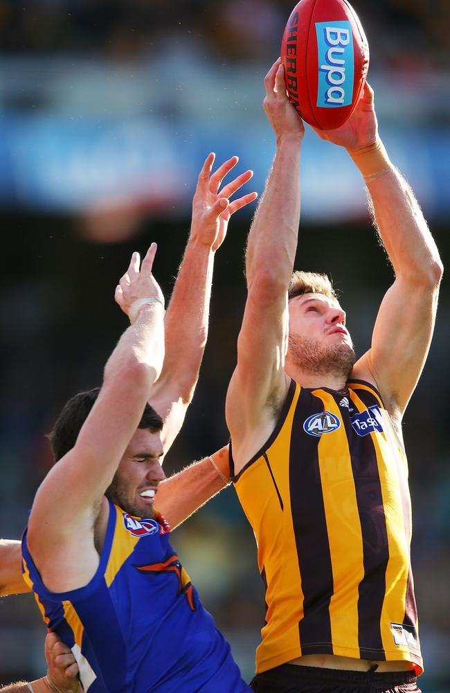 Eagle Jack Darling was no match ofr Grant Birchall in this marking contest. Picture: Getty