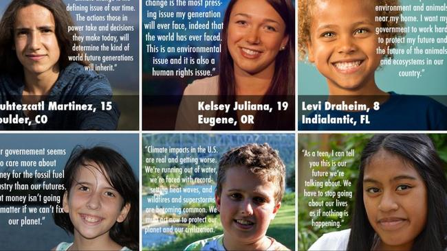Young people who are suing the US government over climate change. From Our Children's Trust website.