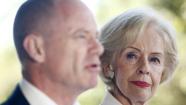 Premier Campbell Newman announces a government crack-down on domestic violence with The Honourable Dame Quentin Bryce.