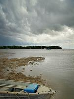 A storm looming as it moves towards Darwin as seen from the Dinah Beach Boat Ramp. Picture: Michael Franchi