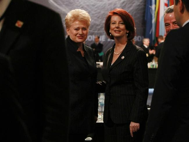 Girl power ... Dalia Grybauskaite with Australia's first female PM Julia Gillard. Picture: Britta Campion