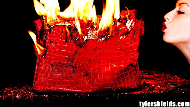Controversial stunt: Francesca Eastwood is receiving death threats for intentionally destroying this $100K handbag. Picture: www.tylershields.com