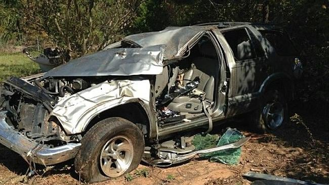 The newlywed's SUV flipped on an interstate highway. Picture: GoFundMe.