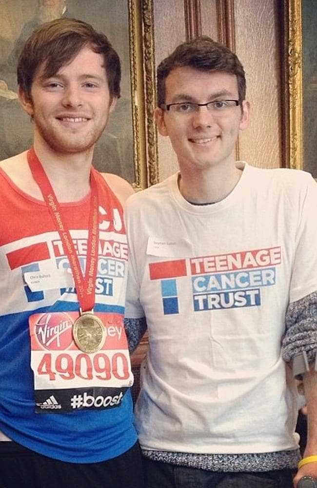 Stephen (right) with his best mate Alex, who ran a marathon to raise money for the Teenag