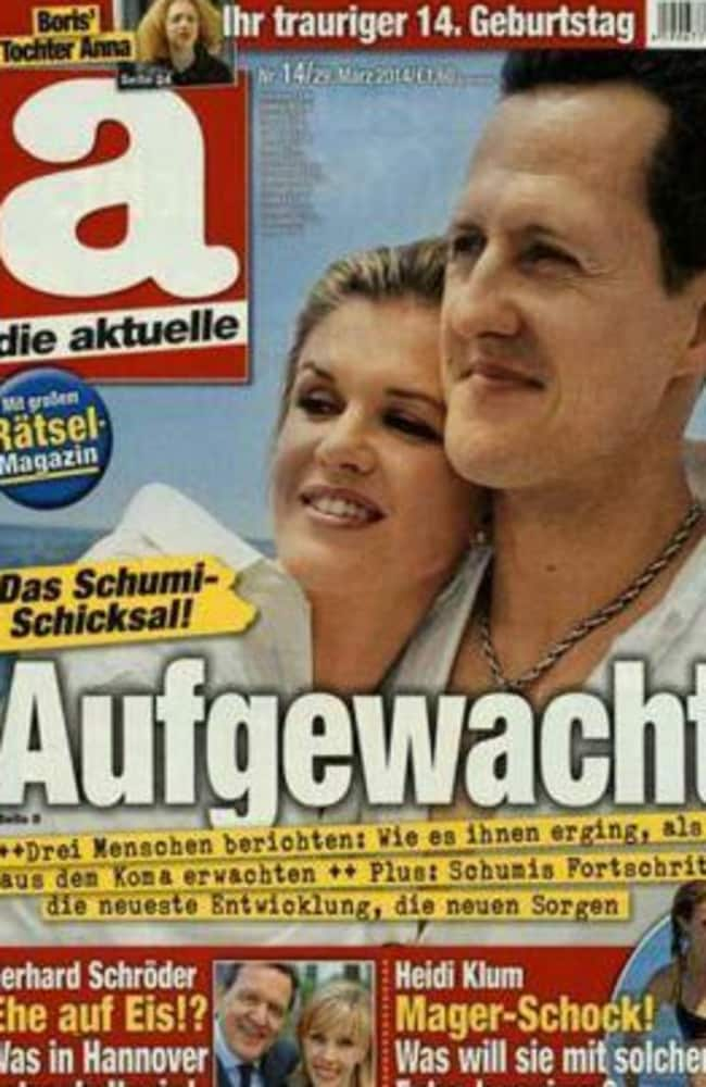 "The magazine Die Aktuelle which in April ran the word ""Awake"" with a picture of Schumacher and his wife Corinna, prompting allegations that it was simply trying to cash in on the tragedy."