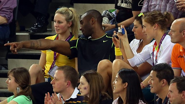 Kobe Bryant points out something to his Australian companions. Picture: Adam Head