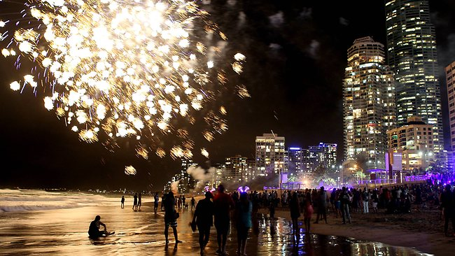 New Years Eve at Surfers Paradise. Photo of the 9pm fireworks. Picture: Gosling Richard