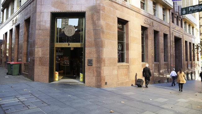 Anti-terror attack bollards are being placed in Martin Place, Sydney, where the Lindt Cafe siege took place in 2014. Picture: Justin Lloyd