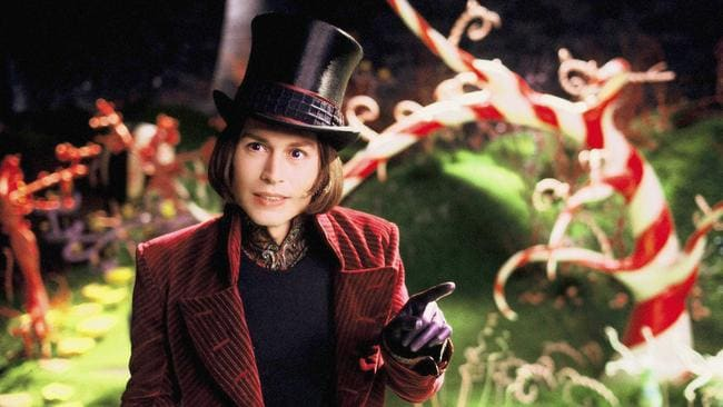 Not the purple rubber gloves! Johnny Depp as Willy Wonka.