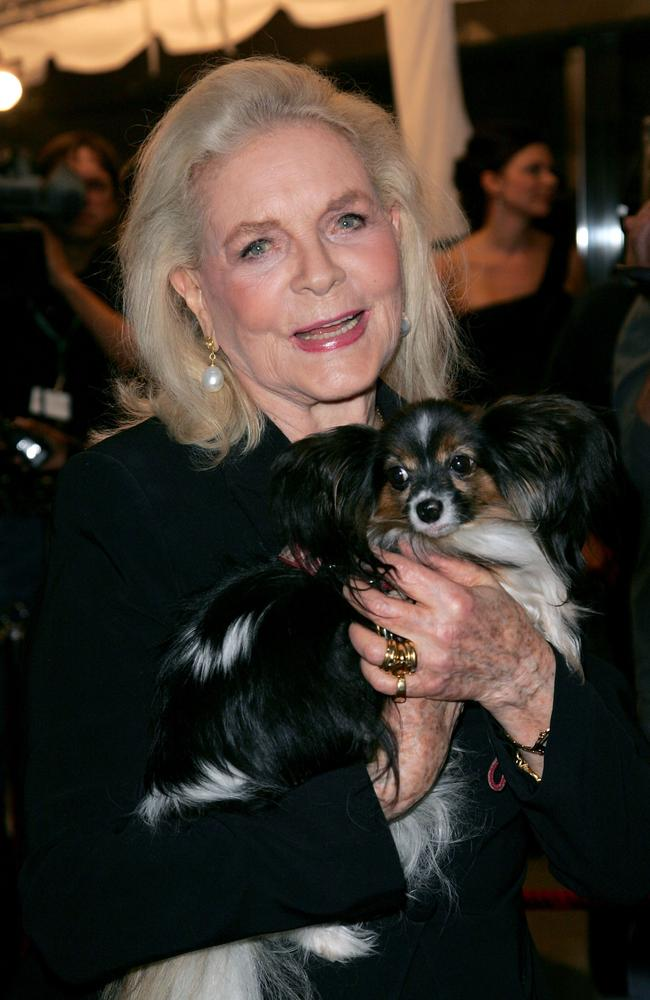 """Dog lover ... Lauren Bacall and her dog Sophie arrive at the """"The Walker"""" North American Premiere screening during the Toronto International Film Festival in 2007."""