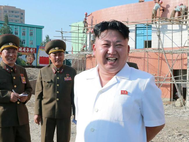 Running his own race ... North Korean leader Kim Jong-un inspecting the construction site of apartment houses for educators of Kim Chaek University of Technology. Picture: AFP