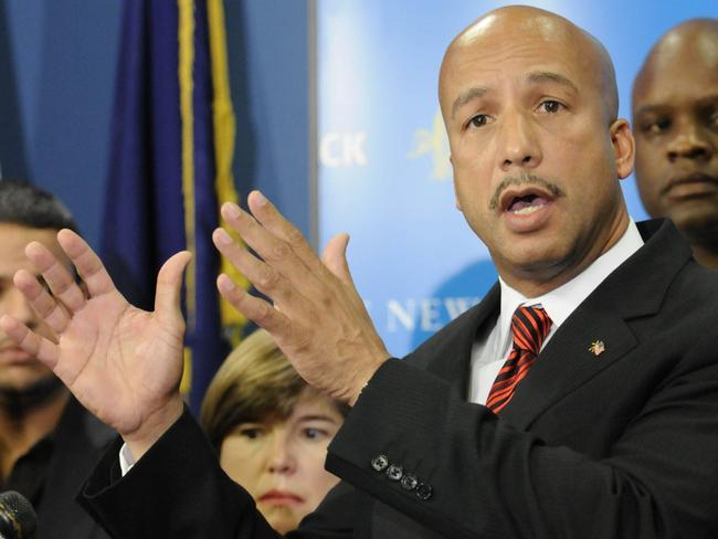 Helping out ... Former New Orleans Mayor Ray Nagin surrounded by city officials, speaks to members of the media about Hurricane Gustav in New Orleans in 2008.