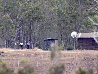 The property in Gin Gin during the search yesterday. Picture: Glenn Barnes