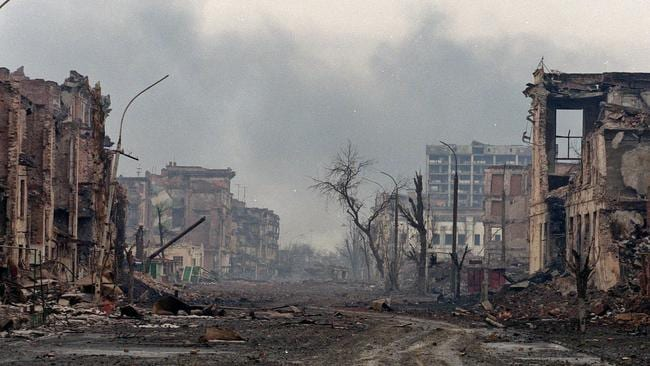 The Chechen capital of Grozny in 2000 following damage caused by a bloody civil war.