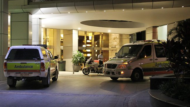 The scene outside the Chevron Renaissance in Surfers Paradise after a person fell from one of the Hi Rise towers. Picture: Glenn Hampson