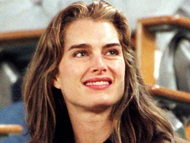 Brooke Shields in the stands watching Andre Agassi.