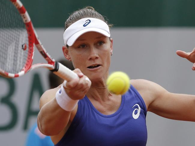 Still standing ... Samantha Stosur returns the ball during the second round match of the French Open tennis tournament against Austria's Yvonne Meusburger. Picture: AP