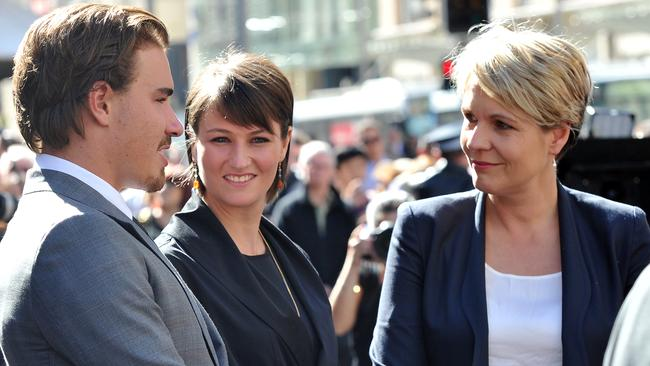 Hugo and Harriet Wran at their father's funeral in April talking to federal Opposition deputy leader Tanya Plibersek. Picture: AAP Image/Paul Miller