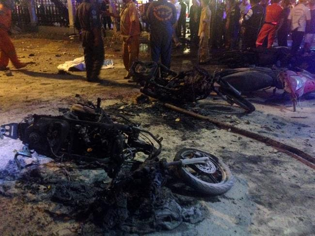 Aftermath ... Destroyed motorbikes are pictured at the scene. Source: AFP / AIDAN JONES