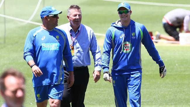 (L-R) Darren Lehmann, Rod Marsh and Steve Smith. Picture: Sarah Reed.