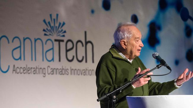 The chairman of the CannaTech conference, Raphael Mechoulam, delivers a speech to participants at the summit for cannabis innovation. (AFP/Jack Guez).